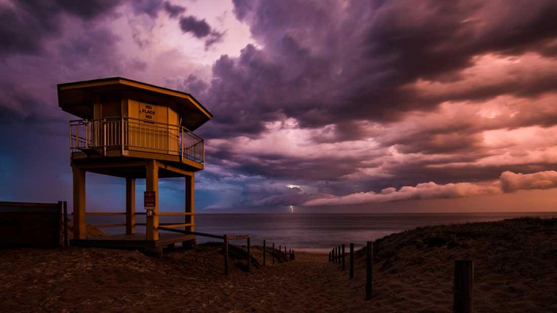 Wanda Beach Lifeguard Tower Lightning Storm