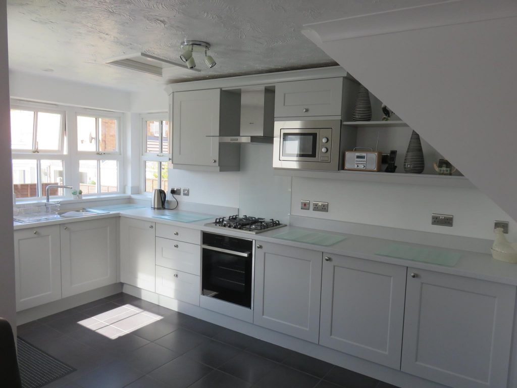 Light grey beaded Shaker kitchen The Gallery Fitted