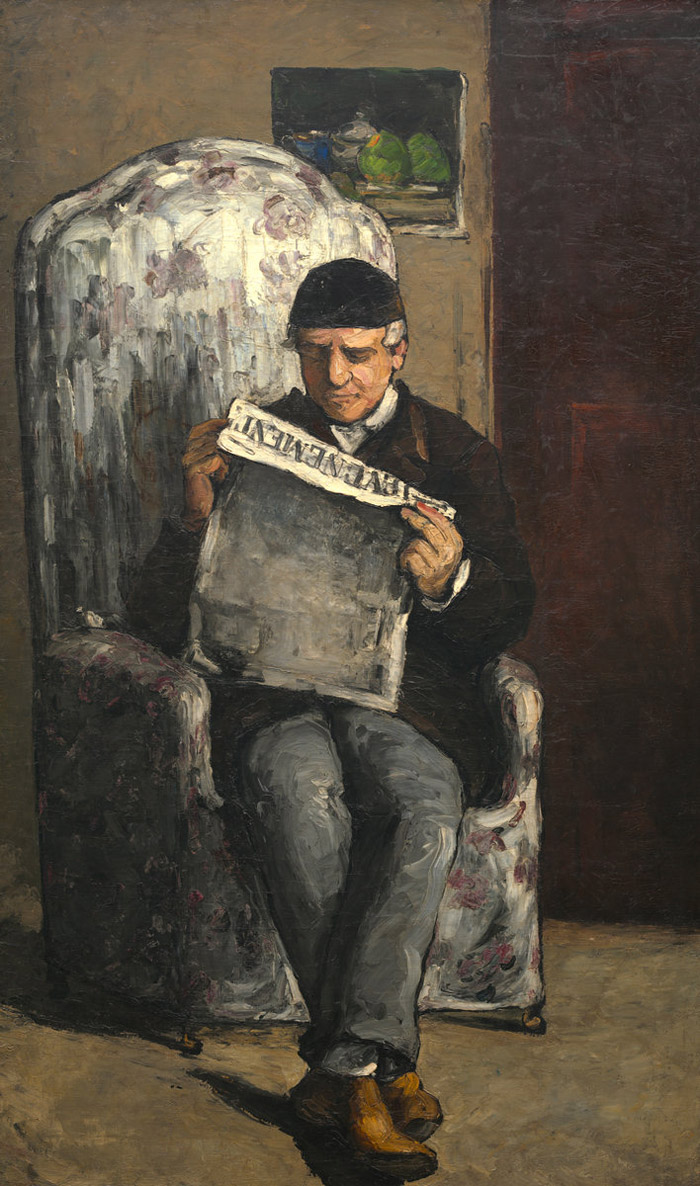 The Artists Father Reading Lvnement by Paul Cezanne