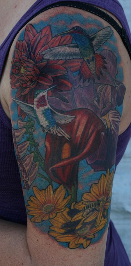 Hummingbird And Flower Half Sleeve Tattoo