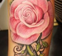 Rose Tattoo On Thigh Black And White