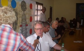 Joe Clare speaks at a Press Conference in a gallery in Camaguey Cuba before an exhibition opening