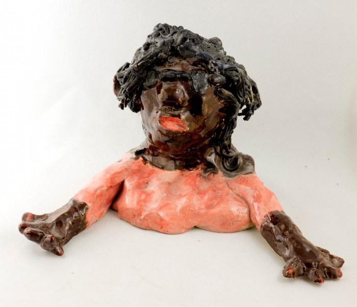 Whoopi Goldberg - glazed ceramic by Aba Garbrah