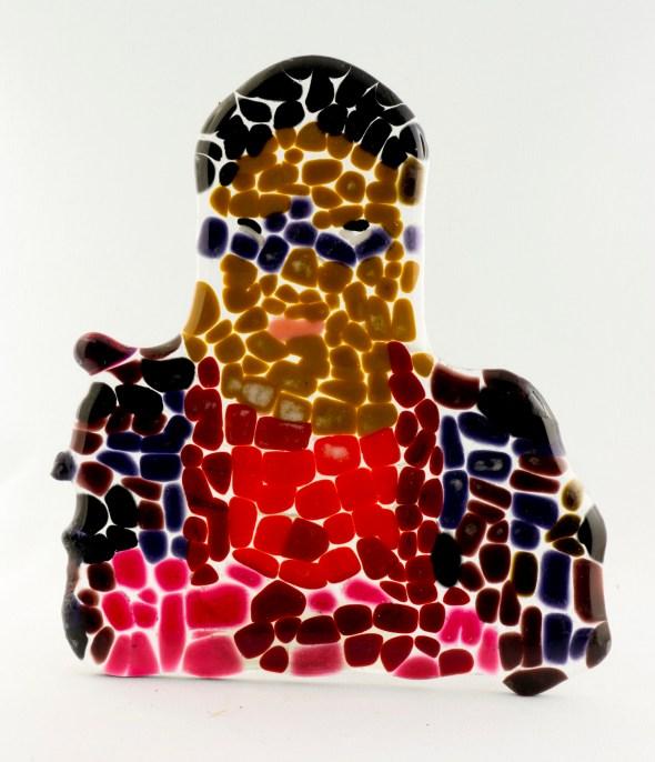 Self Portrait - glass mosaic by Aba Garbrah