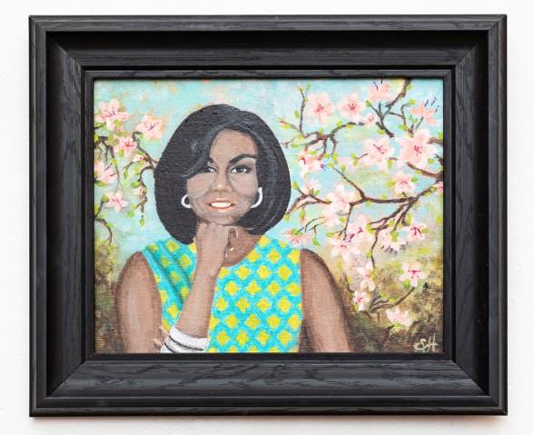 Michelle O., 2020 Acrylic on canvas board $250.00 (framed)