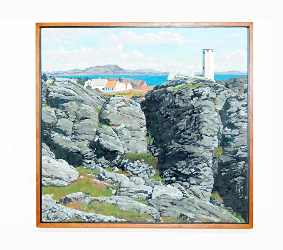 "Cliff at Beiningen II Oil on canvas 40"" x 38"" (framed)
