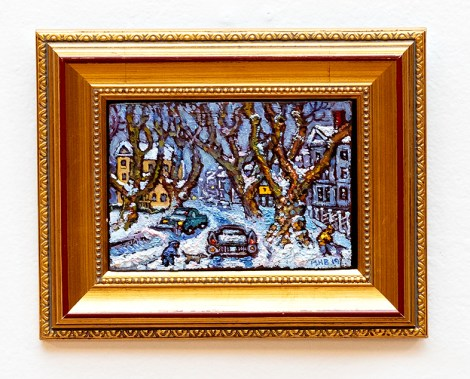 Brock Ave. at Snowfall, 2019 Oil on oak SOLD!