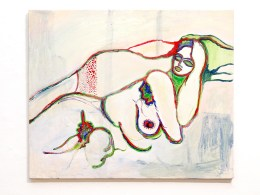 Nude - Red, Green & Blue Acrylic on canvas mounted on wood panel $850.00