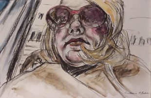 """Under Cover Watercolor & charcoal on paper 17"""" x 11"""" unframed $650.00"""