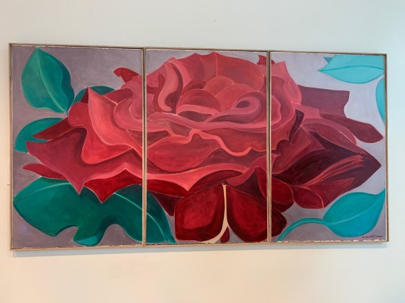 """Oil on watercolor paper Mounted on 3 - 27"""" x 42"""" wood panels $2100.00"""