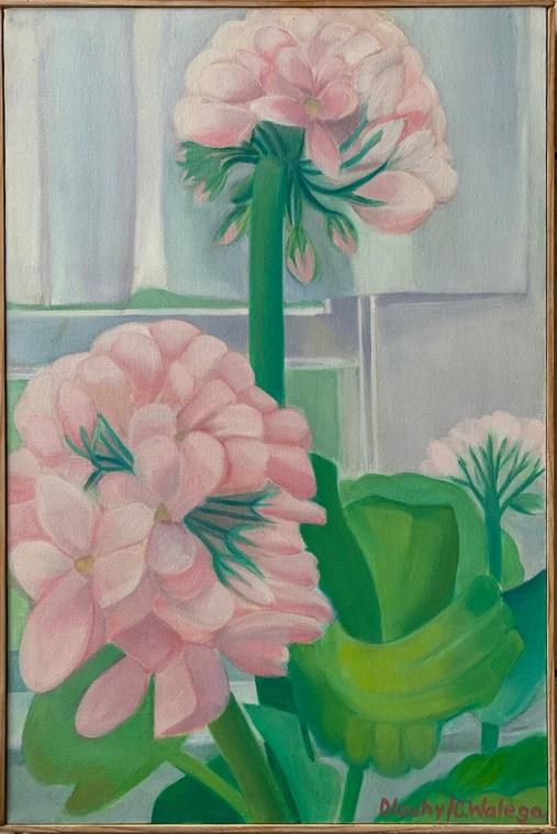 "Window Geranium Oil on canvas 20"" x 30"" $350.00"