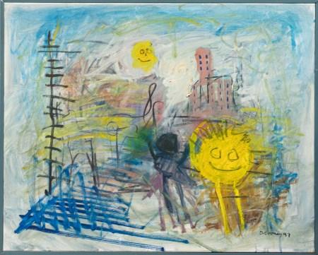 """Urban Sunrise Oil on canvas 32"""" x 25 1/2"""" Framed $800.00"""