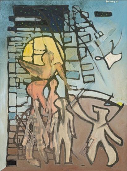 """Ascension Descension Oil & board on canvas 36"""" x 50"""" $1500.00"""