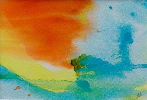 Abstract Orange I Watercolor Matted and framed $45.00