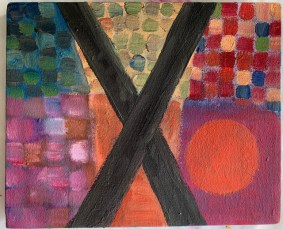 """Xi Acrylic on canvas 11"""" x 9"""" stretched canvas $75.00"""