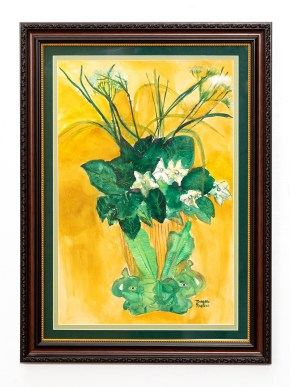 Elephant Vase Watercolor Matted & framed $150.00