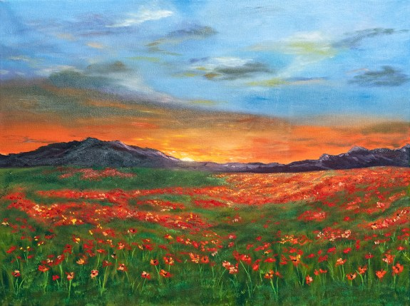 Field of Poppies Oil on canvas $135.00