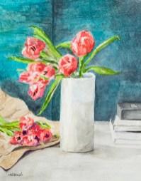 Fleurs du Marche, 2021 Mixed media Matted & framed $300.00