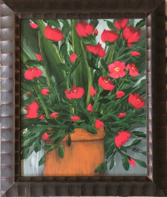 "Rouge Domination, 2020 Acrylic 8"" x 10"" framed $95.00"