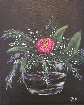 "Flowers Oil on canvas 8"" x 10"" $55.00"