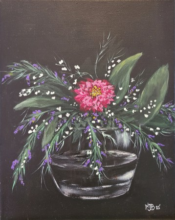 "Flowers Oil on canvas 8"" x 10"" $55.00"