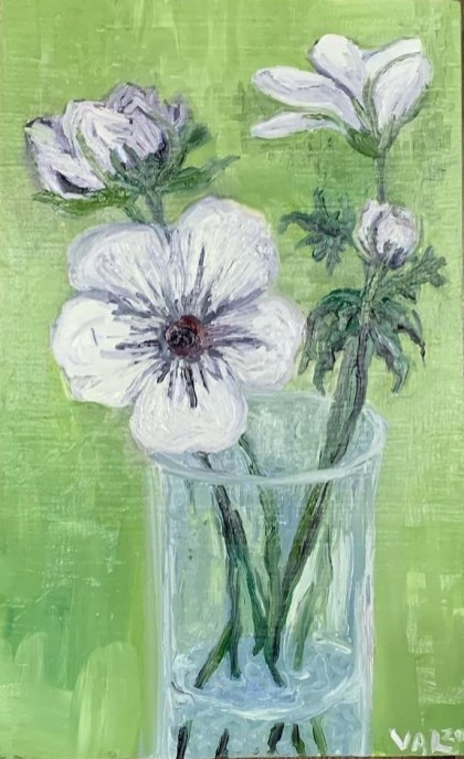"Anenomes, 2020 Oil on wood block 11.5"" x 7"" x 1"" $120.00"