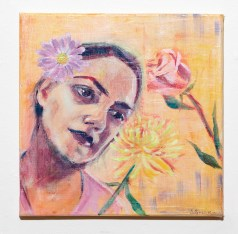 Self Portrait with Flowers Acrylic on canvas NFS
