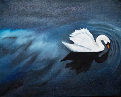 Swan Silence Oil on canvas $175.00