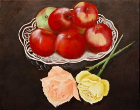 Untitled (Apples & Roses) Oil on canvas $145.00