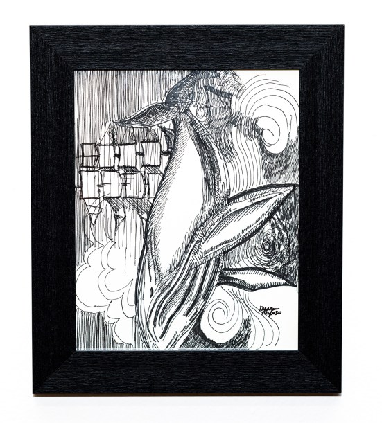 A Storm of a Whale Pen & ink Framed SOLD!