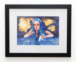 From the Ocean Personified Series: Hunger Watercolor Matted, framed $100.00