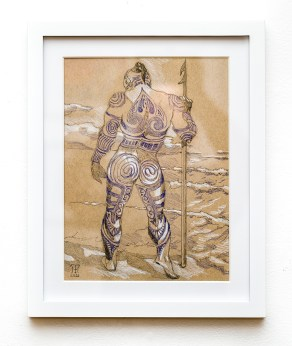 Queequeg Graphite Matted and framed $145.00