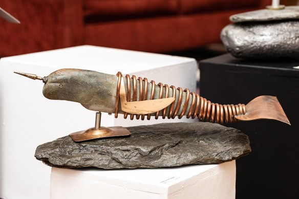 Narwhal metal, stone $1200.00
