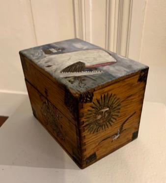 Faux Whalebone Ditty Box - 1 Wood, paint $135.00