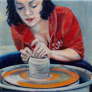 Stephanie J. Sherman Self Portrait of the Artist at Work Oil on canvas NFS