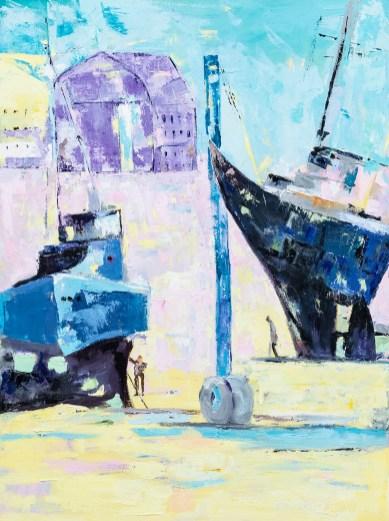 Robin Nunes On the Rail Oil on canvas $1200