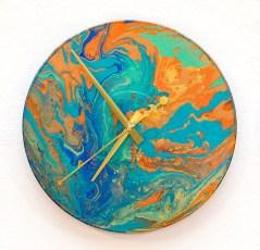 Julee Galitsky Burning Earth, 2021 Acrylic on vinyl record (clock) $125