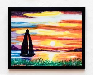 David LeComte Safe Passage Under Sail Acrylic on paint board $250