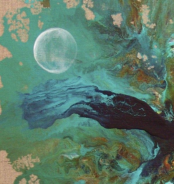 Poseidon Window -abstract Painting Landscape Seascape Turquoise Sea Ocean Blue - Acrylic