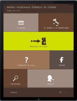 La schermata iniziale dell'app del Museo Nazionale Etrusco di Chiusi col menu di navigazione.