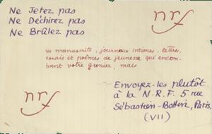 « Ne jetez pas... » Projet de prospectus, ms. aut. de Jean Paulhan. Archives Éditions Gallimard