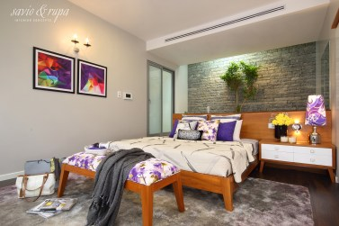 Master Suite with Stone Backdrop