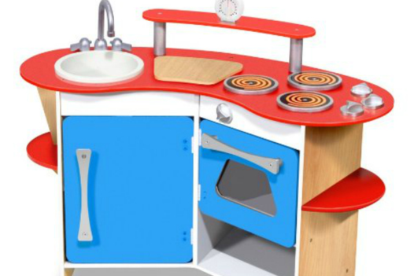 Melissa and Doug's award winning wooden play ktichen. Compact and great for small spaces.