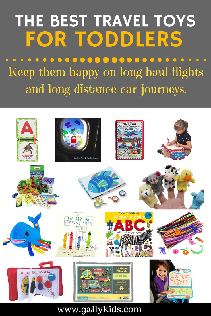 Travel toys for toddlers to keep them entertained and happy on long car journeys.