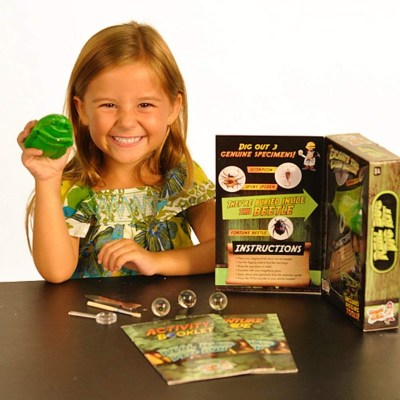 """Archaeology science kit for kids - real bug digging - Here's a kit for your future paleontologist. Kids learn how to """"dig"""" and at the ened, they get their own bug!"""