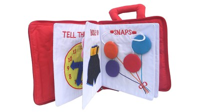The Quiet book - your toddler can practice his fine motor skills during the trip. This one has zipper, clock and more..
