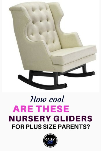 A white swivel rocker glider by Nursery Works. heavy duty and can take up to 300 lbs.