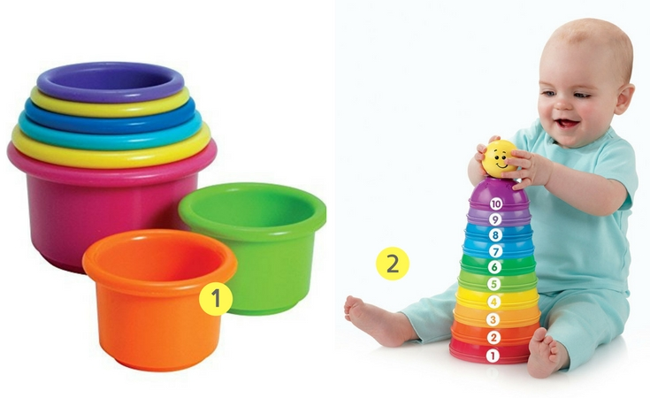 These are two of the stacking cups that lots of babies love. Great for both nesting and stacking. You'll also find that other babies love using them for other things.