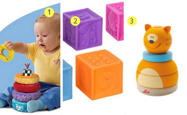 Stacking Toys for infants. Three of the popular ones. 1. LaMaze Soft and Spongy stacker 2. Infantino Squeeze block set 3) Sevi animal stackers