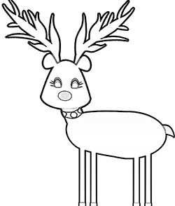 Cute reindeer coloring page for kids. part of a free Printable PDF for kids.